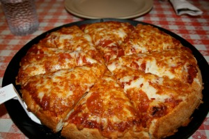 Margherita pizza served ready to eat.